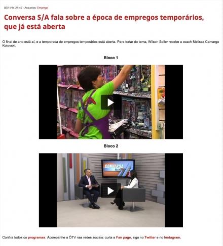 Imprensa | ÓTV – Programa Conversa S/A: Empregos temporários