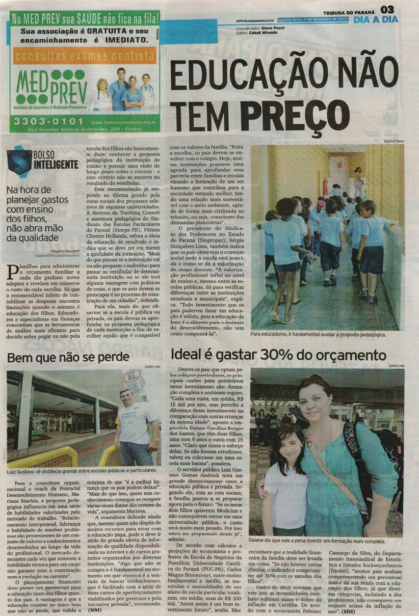 Imprensa | Tribuna do Paraná: Educação não tem preço