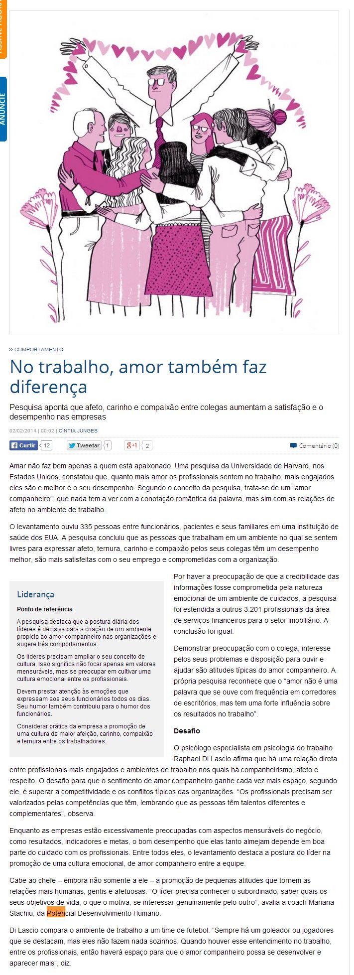 Imprensa | Gazeta do Povo: No trabalho, amor também faz diferença