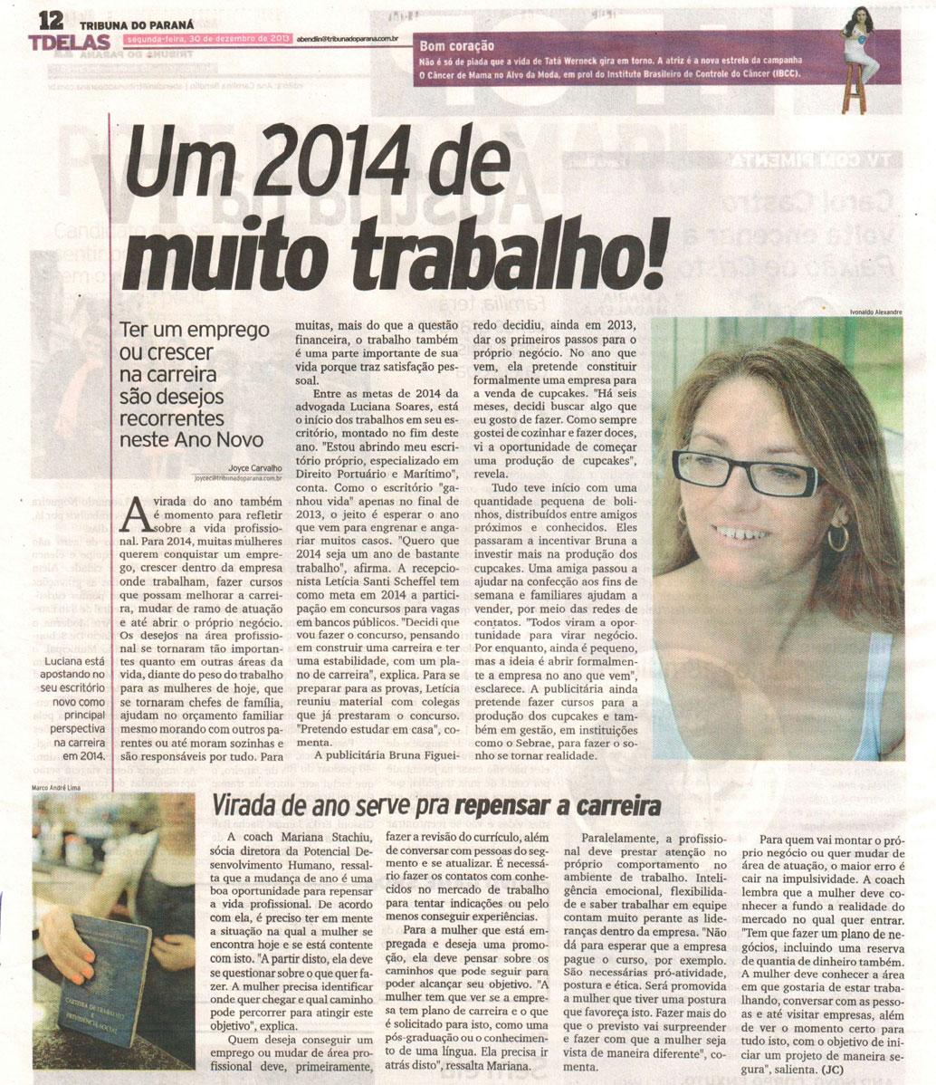 Imprensa | Tribuna do Paraná: Um 2014 de muito trabalho