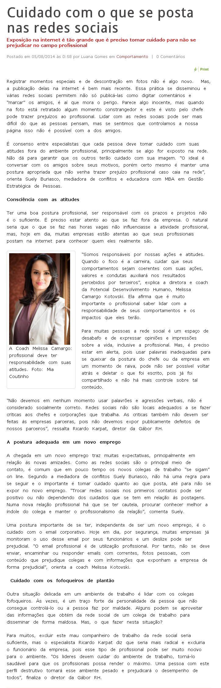 Imprensa | O Estado RJ: Cuidado com o que se posta nas redes sociais